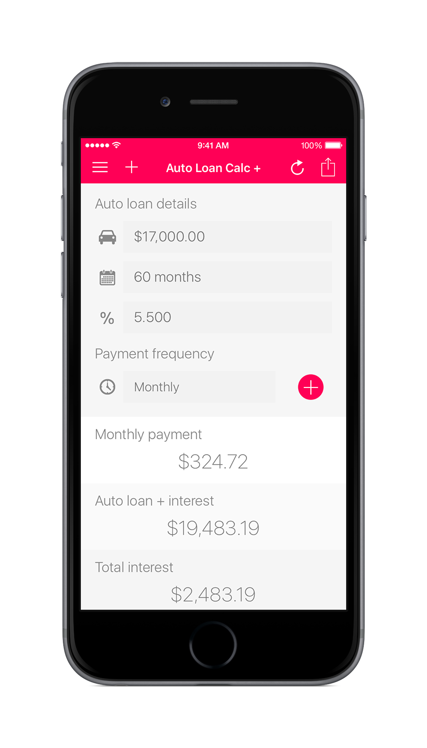 Auto Loan Calculator + for iOS